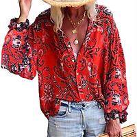 Women Ladies Flower print Blouses Fashion Ladies Chic V Neck Casual Long Sleeve Shirt Tops Blouse blusas mujer de moda