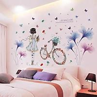 Decal dán tường Hoa xanh tím và cô gái xe đạp - HP396
