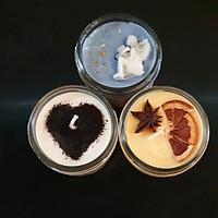 Combo 3 Nến thơm tinh dầu: Cà phê (coffee candle), gỗ Đàn hương và Quýt (Cam) 100g - Giúp thơm phòng, thư giãn giảm stress với thành phần hoàn toàn tự nhiên