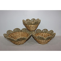 Bộ 3 khay đựng đồ miệng cánh hoa đan lục bình và cói - SD1200A/3NA