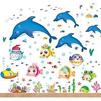 Combo 2 decal dán tường cho bé về thế giới cá ngộ nghĩnh