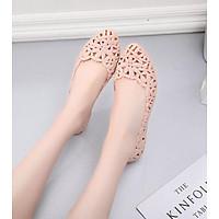 Giày nhựa đi mưa, giày bệt đế bằng chống trơn trượt màu đen, kem size 36 đến 40 V176