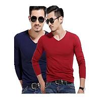 Combo 2 áo thun nam dài tay cổ tim + Tặng kèm 1 quần lót nam