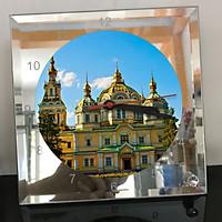 Đồng hồ thủy tinh vuông 20x20 in hình Cathedral - nhà thờ chính tòa (42) . Đồng hồ thủy tinh để bàn trang trí đẹp chủ đề tôn giáo