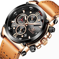 Đồng hồ nam mạ vàng cao cấp OLEVS 9905, chạy đủ 6 kim, dây da mềm thoáng khí - Hàng chính hãng