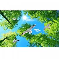 Tranh dán trần 3d bầu trời lá xanh TN68