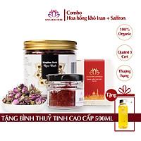 Combo Kingdom Saffron Nhụy Hoa Nghệ Tây và Nụ Hồng Khô Iran Thượng Hạng (1 Hộp Saffron 1g + 1 Hộp Nụ Hoa Hồng Khô 50g)