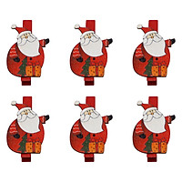 Bộ 6 Kẹp Ảnh Gỗ Trang Trí Giáng Sinh - Ông Già Noel Và Hộp Quà