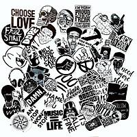 Bộ 50 Sticker Black White Đen Trắng  (2020) Hình Dán Chống Nước Decal Chất Lượng Cao Trang Trí Va Li Du Lịch, Xe Đạp, Xe Máy, Laptop, Nón Bảo Hiểm, Máy Tính Học Sinh, Tủ Quần Áo, Nắp Lưng Điện Thoại