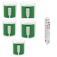 Combo 5 hộp tăm bông UD Nhật Bản thân giấy 2 đầu xoắn+  tặng dụng cụ cạo lưỡi 2 chiếc