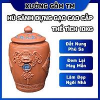 Hủ sành đựng gạo gốm sứ Bát Tràng nắp nhọn Tài Lộc điêu khắc hoa văn