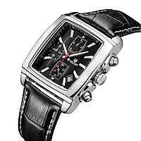 Đồng hồ đeo tay dây da mặt kính sapphire MEGIR 2028 6 kim chronograph có lịch