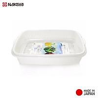 Bộ khay đựng rau củ Nakaya 1,7L hình chữ nhật có chậu lót phía dưới - Hàng nội địa Nhật Bản