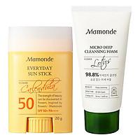 Bộ đôi thỏi chống nắng bảo vệ da ráo mịn Mamonde Everyday Sun Stick SPF 50+ PA++++ 20g & Sữa rửa mặt làm sạch bụi bẩn 50ml