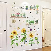 Decal dán tường hoa mặt trời combo sinh động chậu cây và hoa