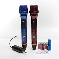 Bộ 2 Micro Karaoke Không Dây Siêu Sang MV08, Vỏ Hợp Kim Chống Rơi Vỡ, Chuyên Dùng Cho Amply, Loa Kéo, Kết Nối Xa Tới 30m Qua Đầu Thu Mini - Chính Hãng