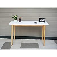 BÀN LÀM VIỆC HIỆN ĐẠI MẶT TRẮNG CHÂN GỖ MWFURNITURE - SLIM TABLE WHITE