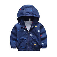 Áo khoác gió Y5Y6 tím than liền mũ hình oto cho bé từ 2 đến 7 tuổi