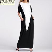 Plus Size ZANZEA Women Summer Pockets Beach Vestido Sundress Ladies Party Casual O-Neck Short Sleeve Maxi Long Dress Kaftan (Color3)