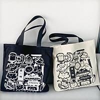 Túi tote túi vải canvas HAPPY phong cách Hàn quốc, có khóa miệng ngăn phụ bên trong tiện dụng-Haka store
