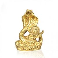 Tượng linh vật con rắn chầu chữ phúc bằng đồng thau cỡ trung phong thủy Tâm Thành Phát