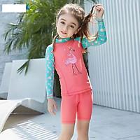 Bộ bơi hồng xanh hình cò dài tay quần cộc rời (2-10 tuổi)