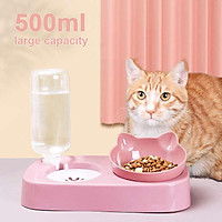 2-in-1 Pet Feede Double Bowl Cat Bowl Dog Bowl Cat bowl Automatic Drinking Water Anti Overturning Easy Clea S/L