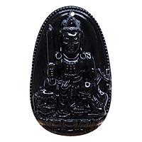 Mặt dây chuyền Văn Thù Bồ Tát Obsidian tự nhiên - Phật Bản Mệnh cho người tuổi Mão size lớn VietGemstones