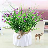 Hoa giả, chậu hoa nhân tạo cắm sẵn để bàn trang trí nhỏ gọn, lãng mạn, trang trí kệ tủ, bàn làm việc, góc học tập