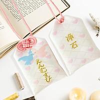 Túi gấm Omamori lứa đôi hạnh phúc bồ câu tim hồng có kèm túi chống nước Túi Phước May Mắn mẫu ngẫu nhiên