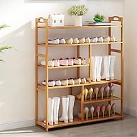 Giá để giày bằng gỗ tre chống mối mọt 6 tầng, kệ để giày dép TUR060