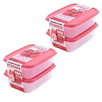 Combo Set 2 hộp nhựa đựng thực phẩm Fitin Pack 600ml nắp dẻo nội địa Nhật Bản