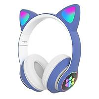 Tai Nghe Mèo Kết Nối Bluetooth Chụp Tai HP000028 Headphone Tai Mèo Dễ Thương Có Mic Âm Bass Mạnh Mẽ Bảo Hành Đi