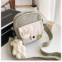 Túi vải đeo chéo nữ nhiều ngăn cá tính giá rẻ BAG U TO78 (kèm sticker ko kèm gấu)