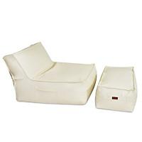 Bộ Sofa Lười Hạt Xốp Sonata ( Sofa Sonata Beanbag)  Màu Trắng Chất Liệu Simily Bao Gồm Gác Chân - The Beanbag House