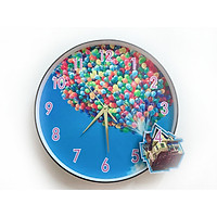 Đồng hồ trang trí treo tường độc đáo NGÔI NHÀ BÓNG BAY, kim trôi, không gây tiếng ồn, sản xuất thủ công
