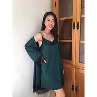 [HATU SLEEPWEAR] Set áo choàng+váy ngủ lụa cao cấp mặc nhà sang trọng tặng kèm quần chip ren-màu xanh lá