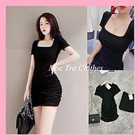 Váy body đen cổ vuông thiết kế nhúm dáng ngắn cộc tay tôn dáng, Đầm ôm nữ dự tiệc tay ngắn rẻ đẹp thích hợp đi dạo đi chơi