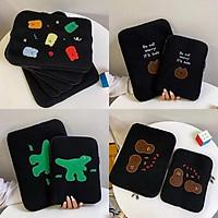 Hoạt Hình Khủng Long Gấu Ốp Lưng Máy Tính Bảng Laptop Túi Cho Mạc IPad Pro 9.7 11 13 15 Inch Bé Gái Bên Trong Tay túi Đựng Túi
