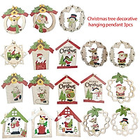 3Pcs/Set Wooden Garland/Santa Claus/Snowman/Bear Pattern Hanging Pendant Ornaments for Christmas