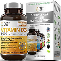 Pure Vitamin D3 Supplement with 5000IU Per Serving | 240 Softgels - 8 Month Supply | Supports Bone, Hormone, Immune, Muscle, Skin, and Teeth Health | Gluten-Free, Always Non-GMO, Preservative Free