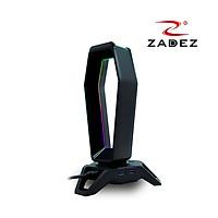 Giá treo tai nghe Gaming LED RGB Rainbow tích hợp Souncard 7.1 và 3 cổng USB 3.0 mã ZHS 702G Zadez tặng kèm miếng lót chuột da 26x21 cm - Hàng chính hãng