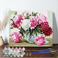 Tranh sơn dầu số hoá 40 x 50 cm có khung - Blooming peony