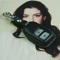 Bao chìa khóa H.o.n.d.a CRV - đồ da handmade - da bò thật - nhuộm màu đen DT142