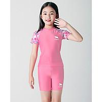 Đồ bơi cho bé gái kiểu Hàn Quốc màu hồng phấn size từ 14kg đến 43kg
