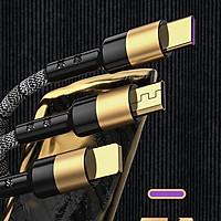 Cáp sạc nhanh,truyền dữ liệu tốc độ cao 5A với 3 đầu kết nối Type C, Micro và Lightning