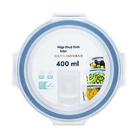 Hộp thuỷ tinh tròn cao cấp kháng khuẩn đựng thực phẩm 400ml nắp hít chân không