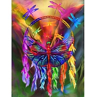 Bimkole 5D Diamond Painting Color Dragonfly Dream Catcher Full Drill DIY Rhinestone Pasted with Diamond Set Arts Craft Decorations (12x16inch)
