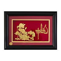 Khung Tranh 3d Mạ Vàng Sbj Hoa Sen Song Ngư Chữ Phúc