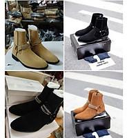 Giày  Harness Boots da lộn, khoá dọc, bốt quai xích